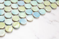 Feature Mosaic Venice 19mm Penny Round Mosaic Gloss Aquamarine 315X294