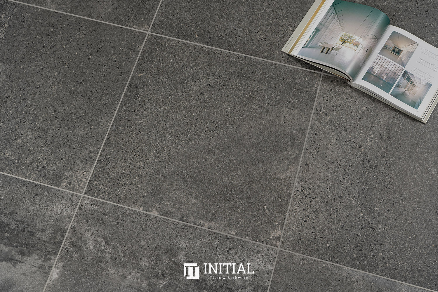 Concrete Look Tile La Perouse Anthracite Matt 600X600
