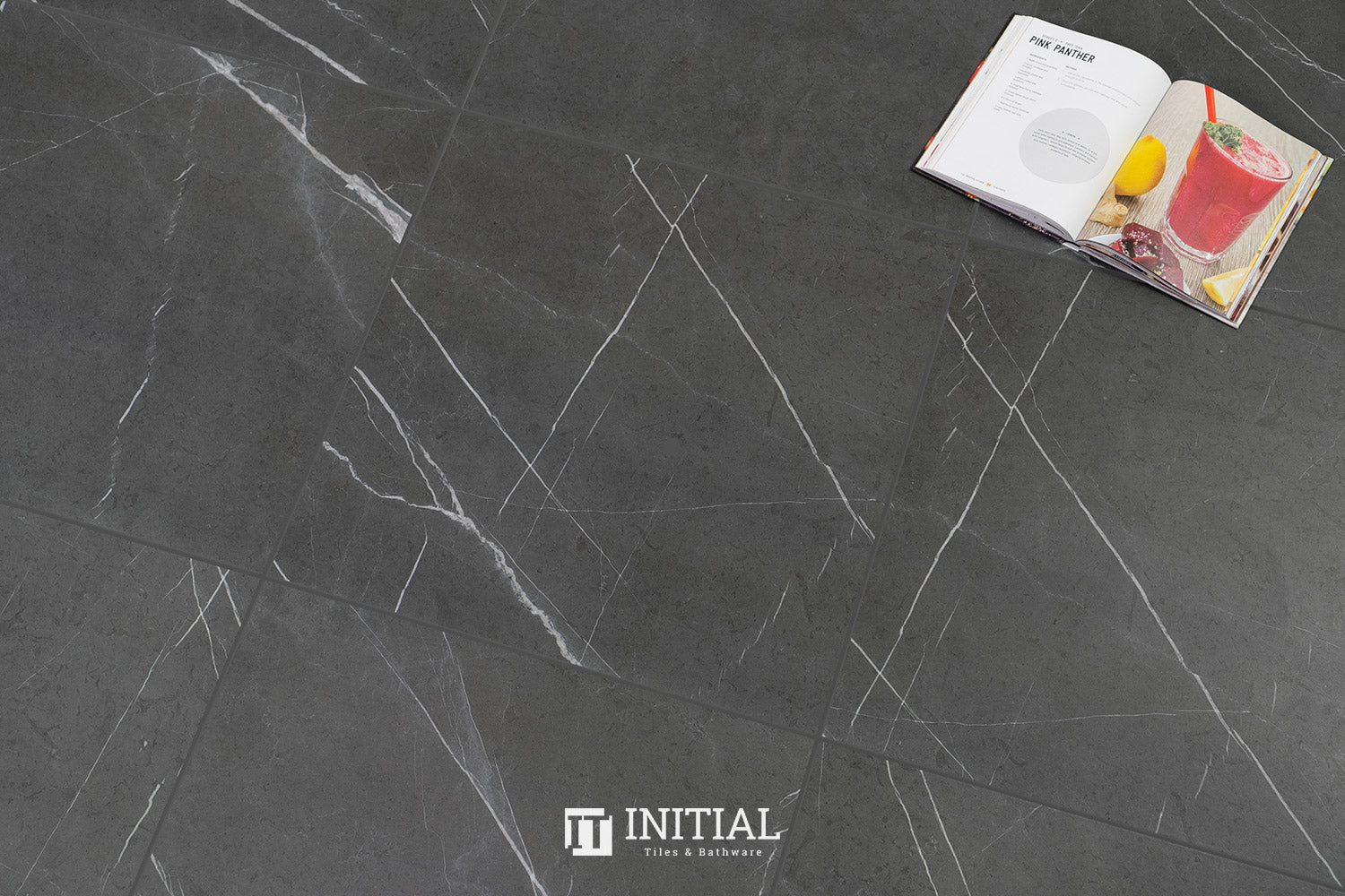 Marble Look Tile Pietra Black Matt 600X600