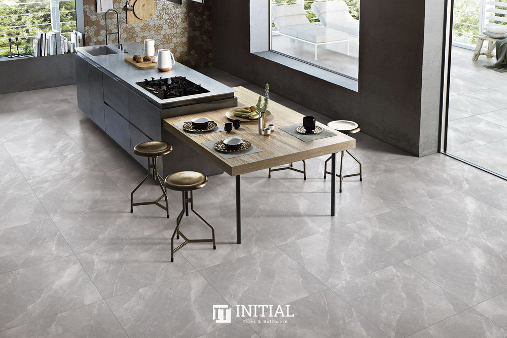 Marble Look Tile Torch Grey Polished 600X600