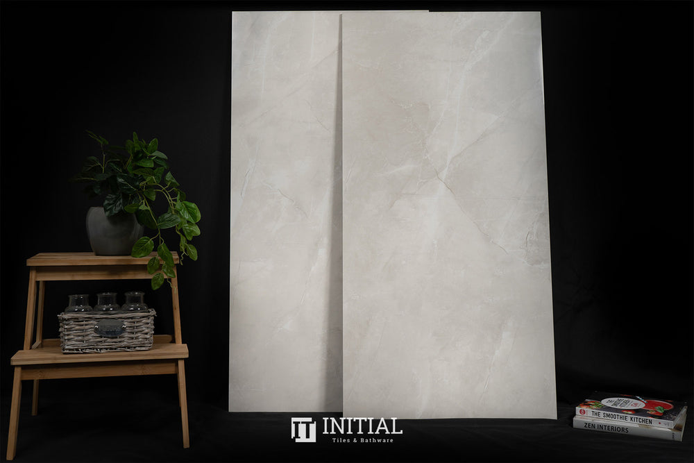 Marble Look Tile Vaucluse Ivory Polished 600X1200