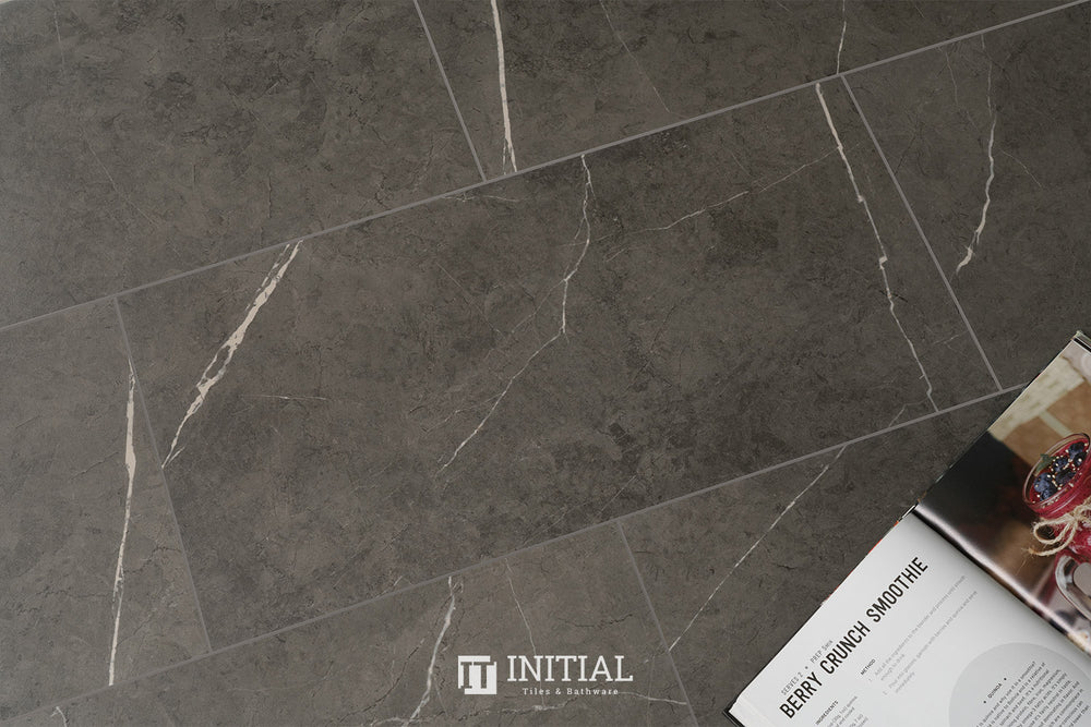 Marble Look Tile Valley Dark Grey Matt 300X600