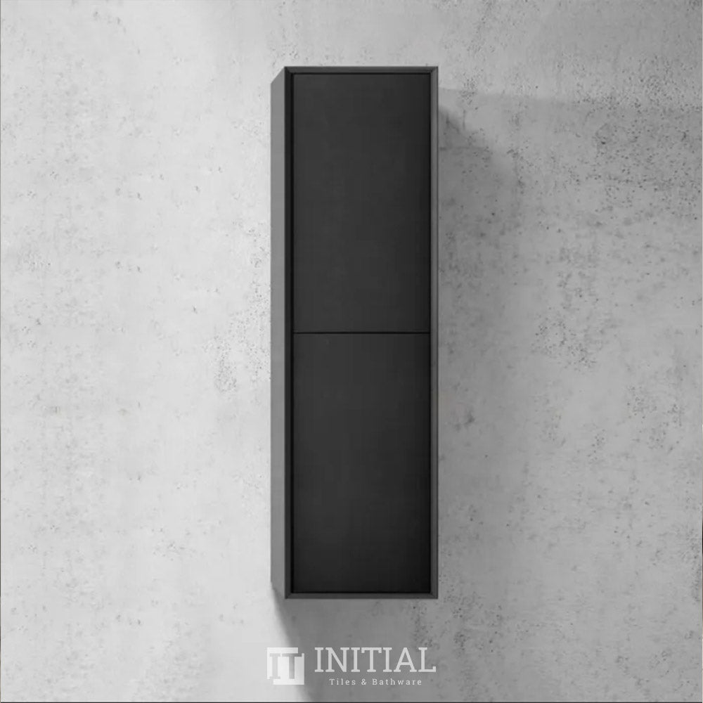 Otti Milano Wall Hung Tall Boy With Soft Closing 2 Doors Matt Black 350W X 1200H X 300D