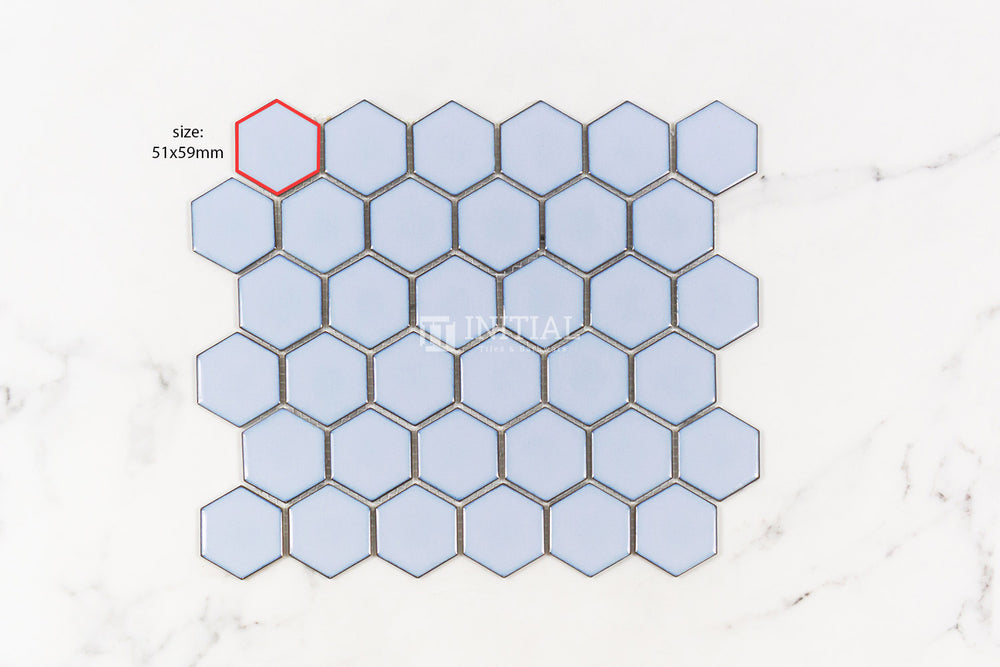 Mosaic Glazed Hexagon 51x59mm Gloss Antique Blue