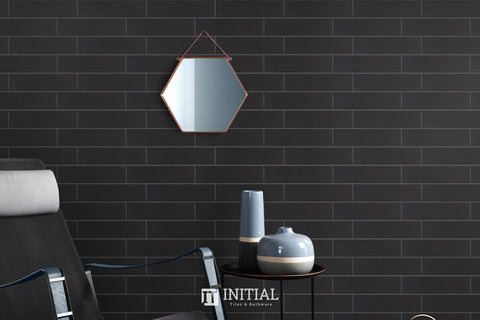 Subway Tile Town Wall Black Matt 75X300