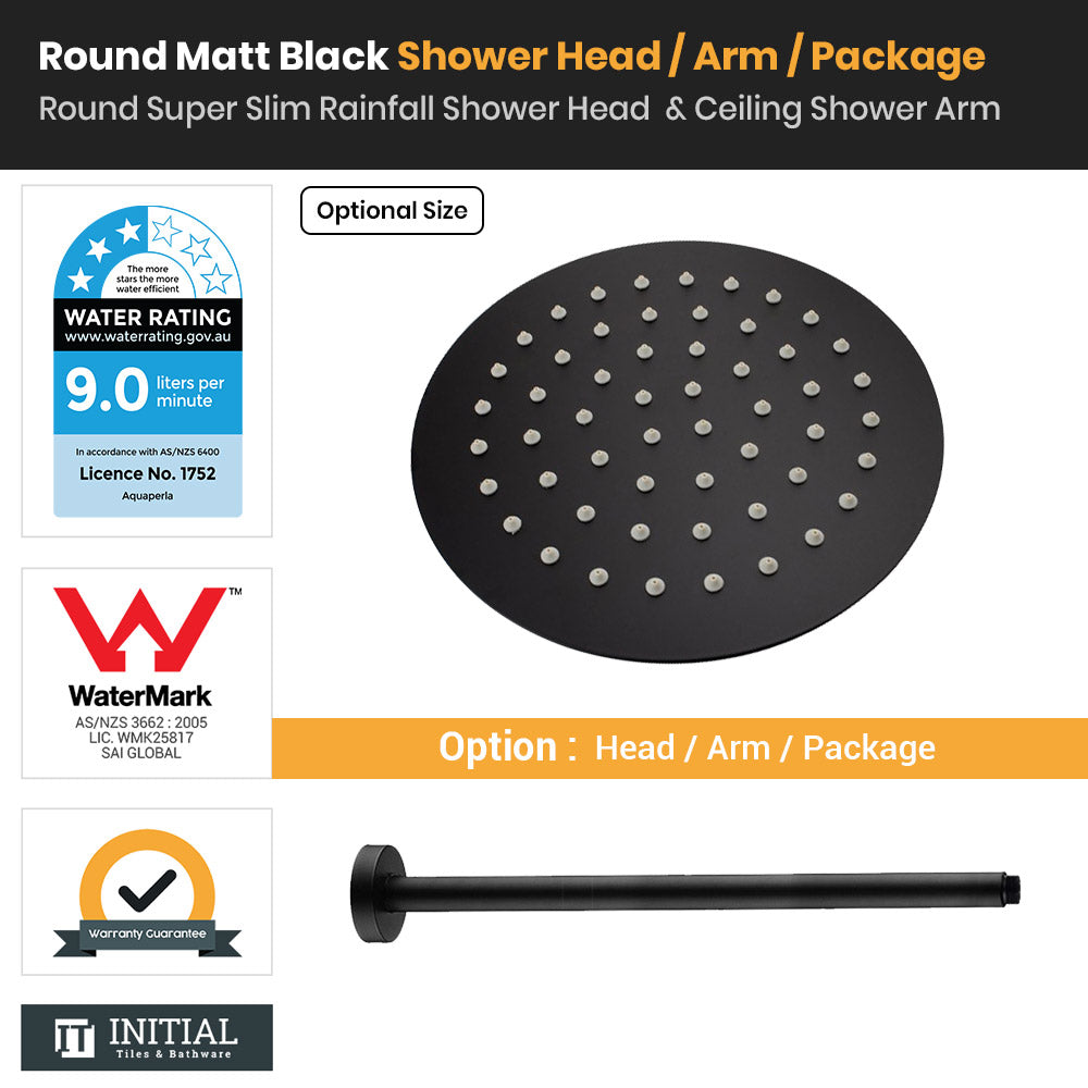 Matt Black Round Super Slim Rainfall Shower Head & Ceiling Shower Arm