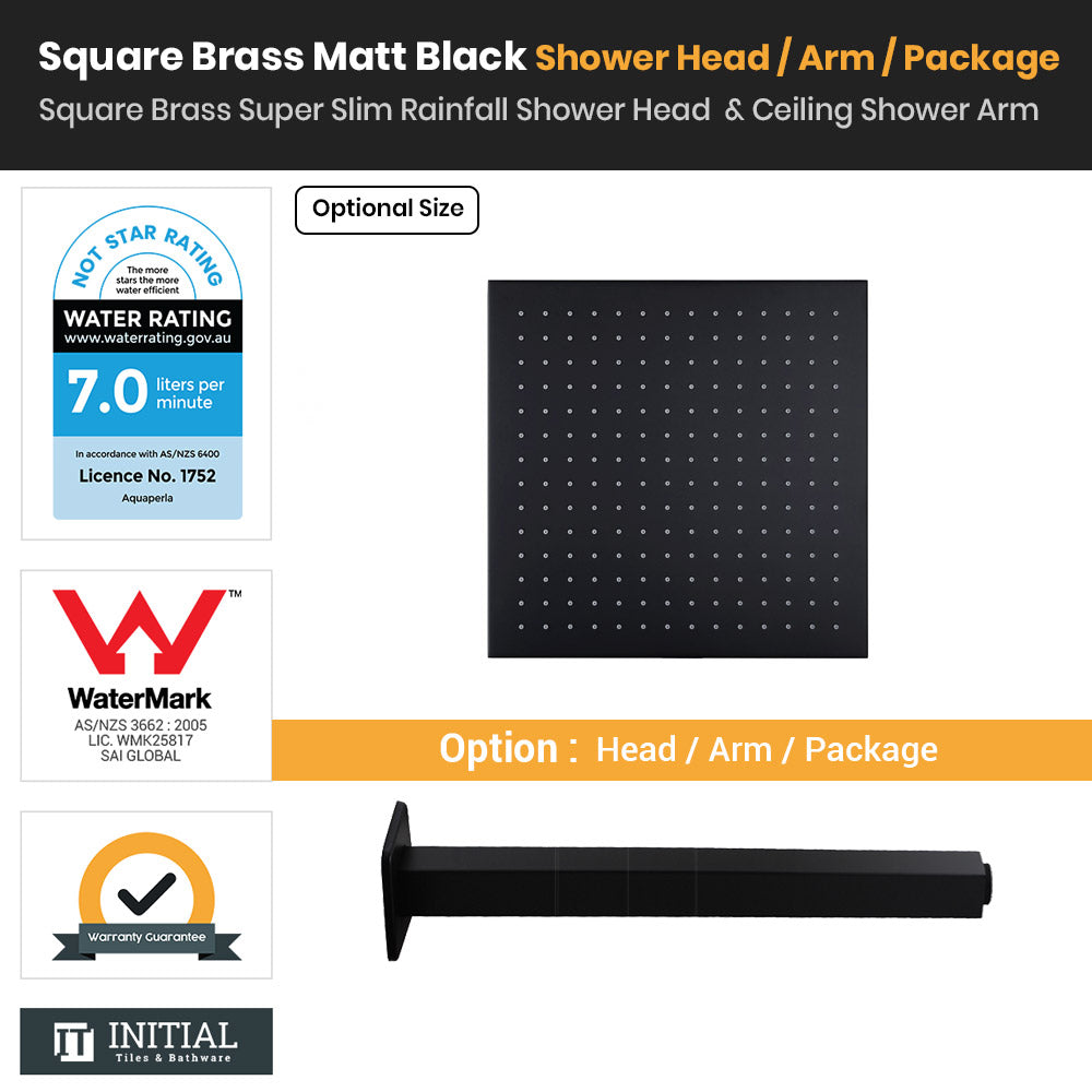 Matt Black Brass Square Super Slim Rainfall Shower Head & Ceiling Shower Arm