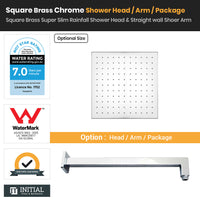 Chrome Brass Square Super Slim Rainfall Shower Head & Straight Shower Arm