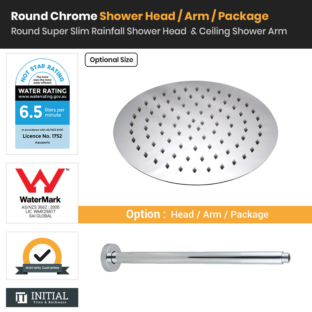 Chrome Round Super Slim Rainfall Shower Head & Ceiling Shower Arm