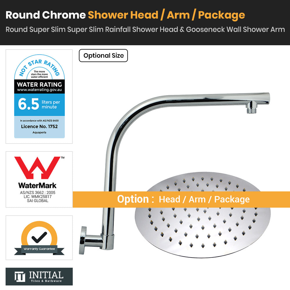 Chrome Round Super Slim Rainfall Shower Head & With Gooseneck Shower Arm