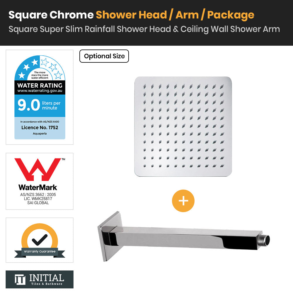 Chrome Square Super Slim Rainfall Shower Head & Ceiling Shower Arm