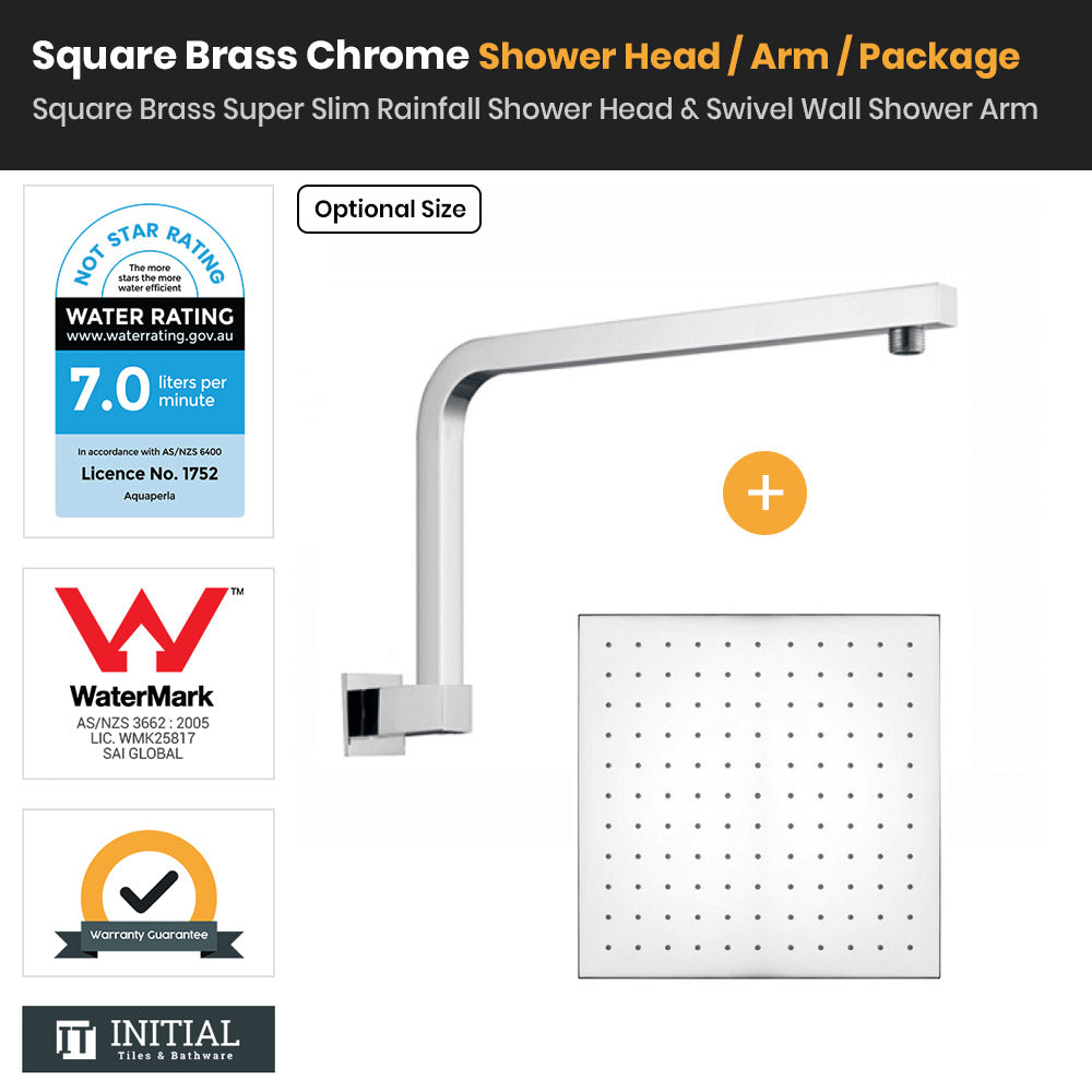 Chrome Brass Square Super Slim Rainfall Shower Head & Swivel Shower Arm
