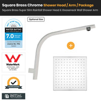 Chrome Brass Square Super Slim Rainfall Shower Head & Gooseneck Shower Arm