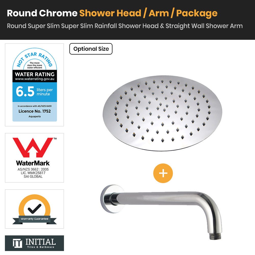 Chrome Round Super Slim Rainfall Shower Head & Straight Shower Arm
