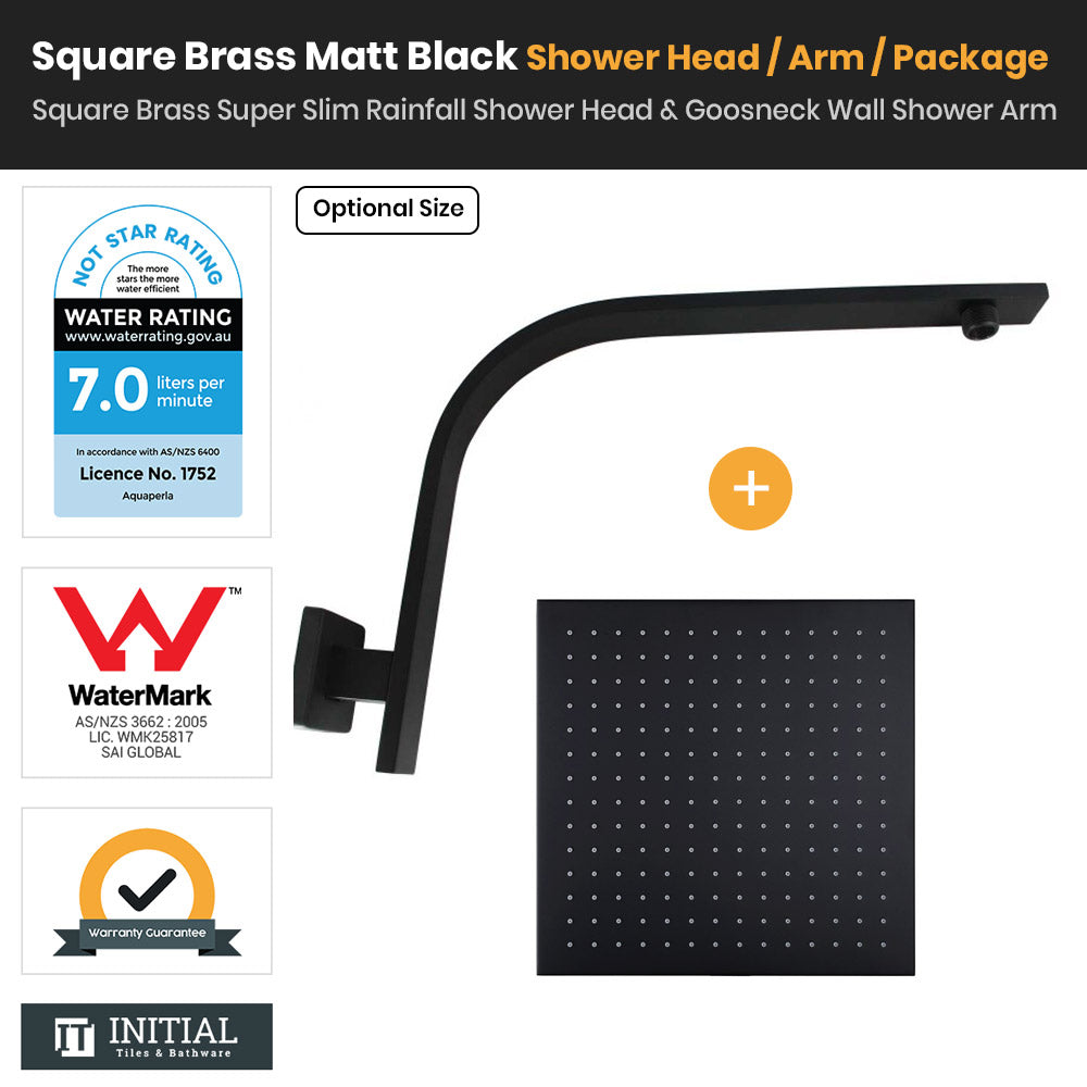 Matt Black Brass Square Super Slim Rainfall Shower Head & Gooseneck Shower Arm