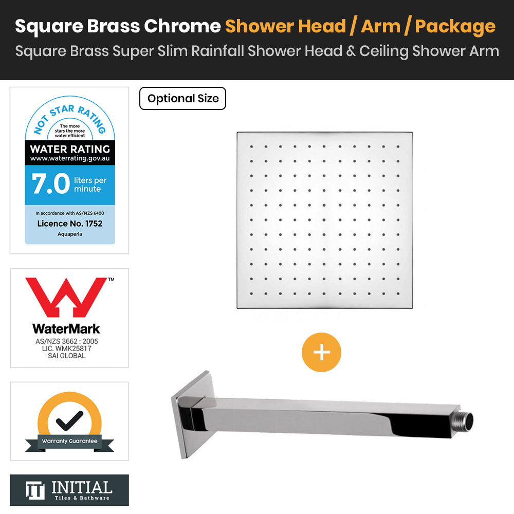 Chrome Brass Square Super Slim Rainfall Shower Head & Ceiling Shower Arm