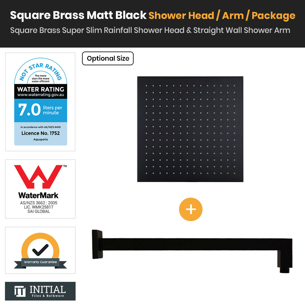 Matt Black Brass Square Super Slim Rainfall Shower Head & Straight Shower Arm