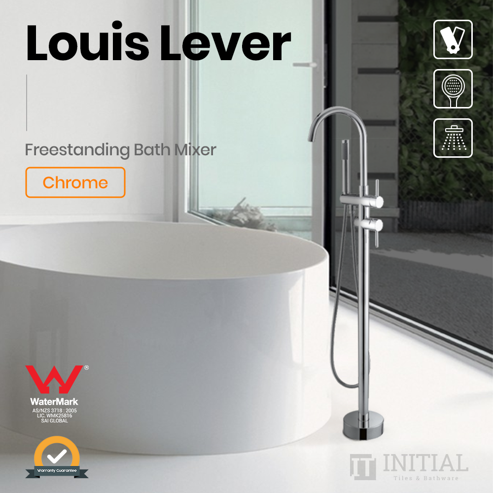 Bathroom Louis Lever Freestanding Bath Mixer With Hand held Shower Chrome