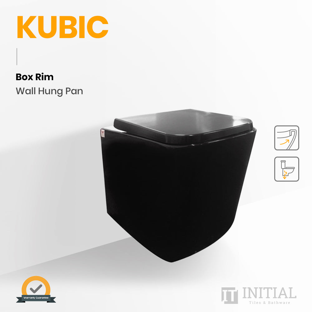 Kubic Box Rim Wall Hung Pan Ceramic Black 550X345X320