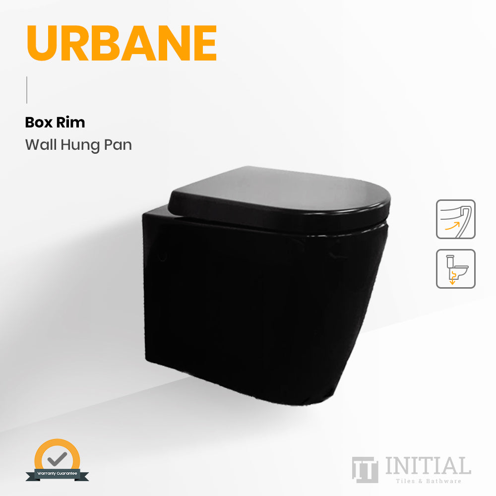 Urbane Box Rim Wall Hung Pan Ceramic Black 555X360X320