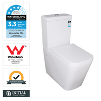 Kubic Box Rim Flush Pan Back to Wall Toilet Suite Ceramic White 665X380X840