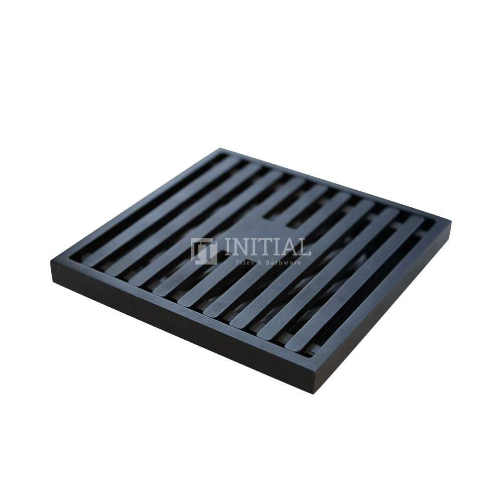 Bathroom Linear Square Floor Waste Matt Black