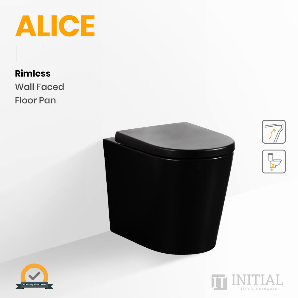Alice Rimless Wall Faced Floor Pan Matt Black 575X360X415