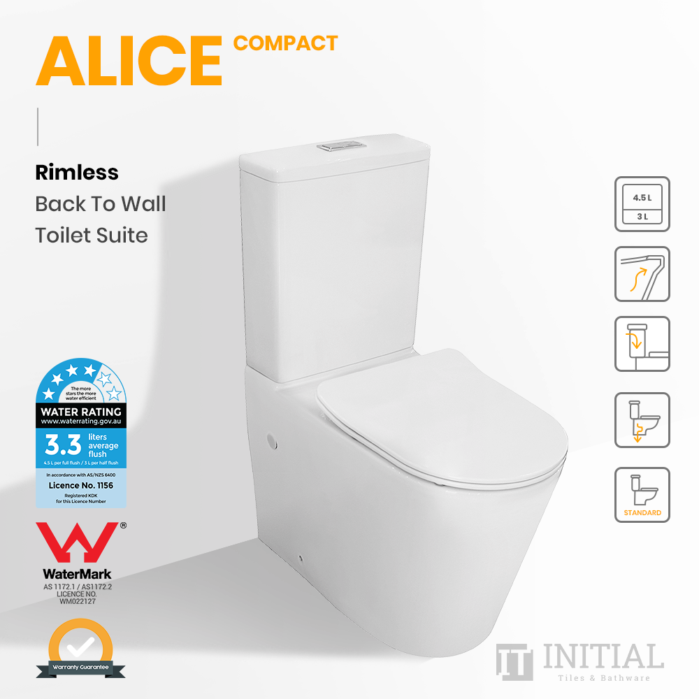 Alice Compact Rimless Back to Wall Toilet Suite Ceramic White 605X380X865