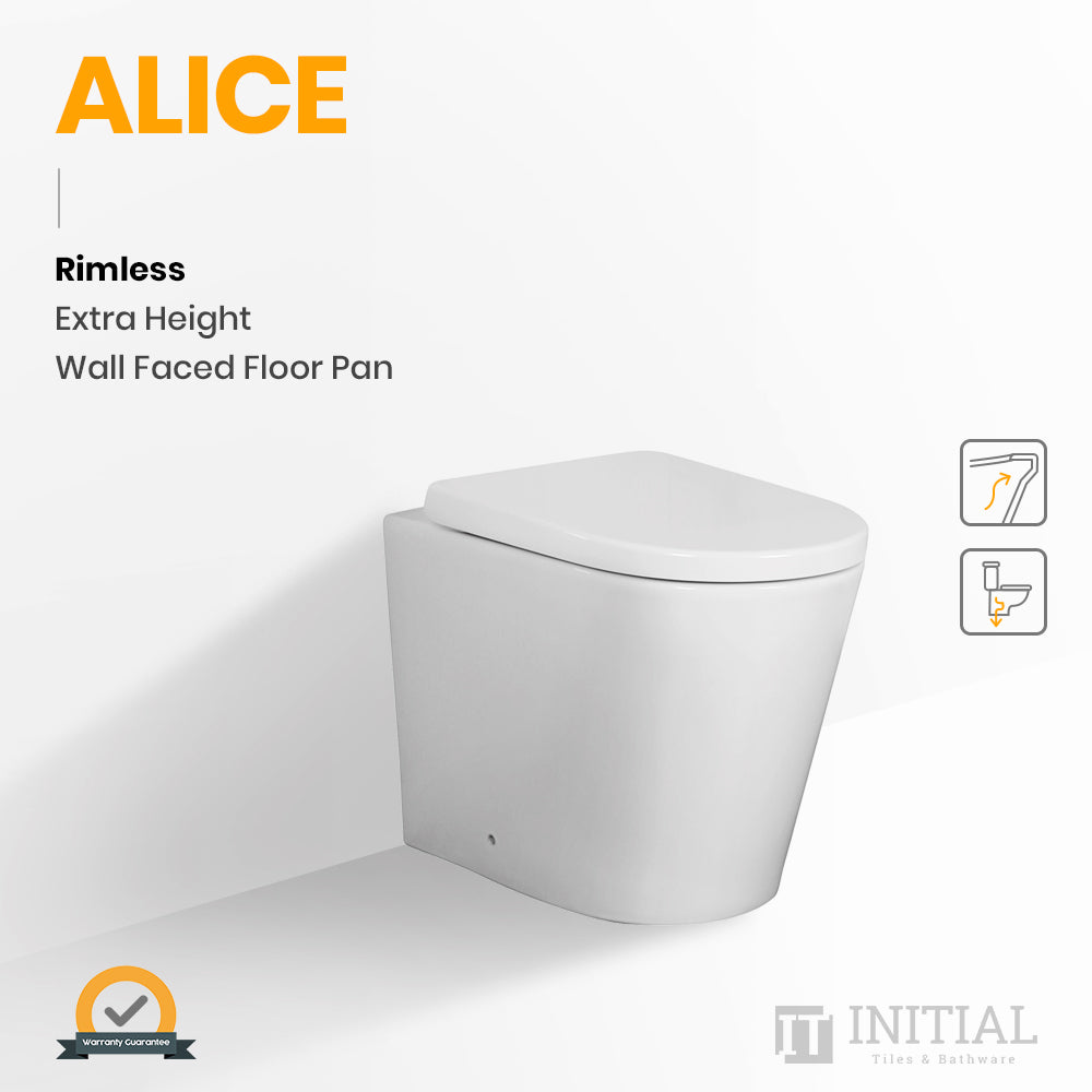 Alice Rimless Extra Height Wall Faced Floor Pan Ceramic White 620X360X445