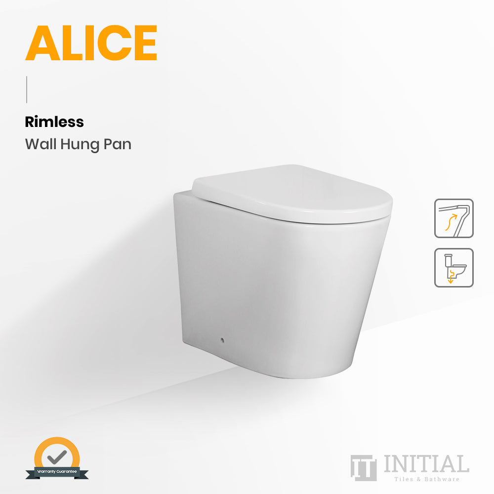 Alice Rimless Wall Hung Pan Ceramic White 520X360X325