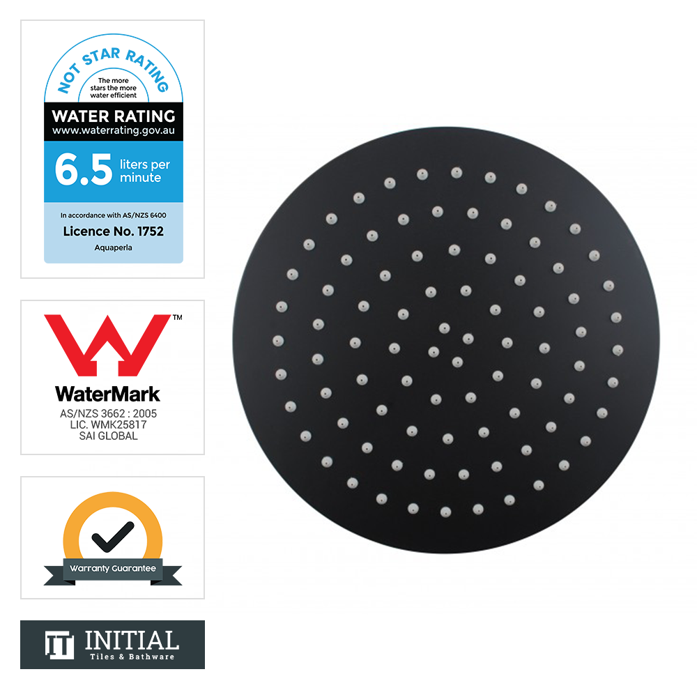 "12"" Round Super Slim Rainfall Shower Head 300mm Matt Black"