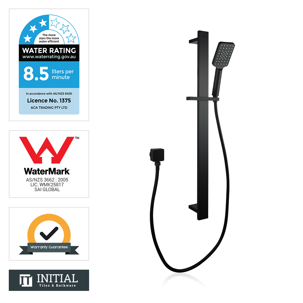 Block Square 3 Functions Handheld Shower with Wall Connector Set Black