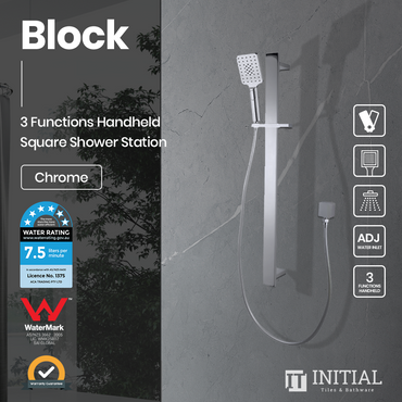 Block Square 3 Functions Handheld Shower with Wall Connector Set Chrome