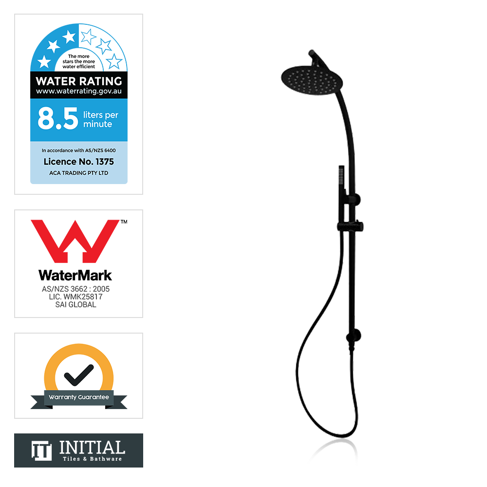 Louis Lever 8'' Round Top Water Inlet Shower Combination Matt Black