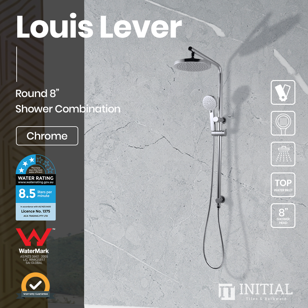 Louis Lever 8'' Round Right Angle Top Inlet Shower Combination Chrome