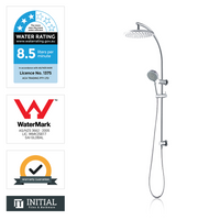 Louis Lever 8'' Round Top Water Inlet Shower Combination Chrome