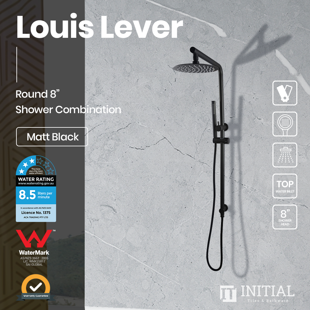 Louis Lever 8'' Round Right Angle Top Inlet Shower Combination Matt Black