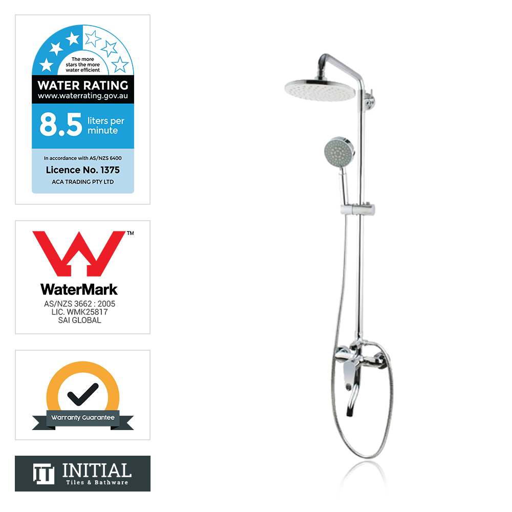 Louis Lever 8'' Round 5 Functions Bottom Inlet Shower Combination Chrome