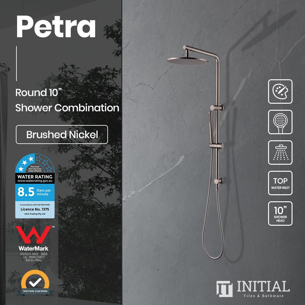 "Petra 10"" Round Shower Combination Brushed Nickel"