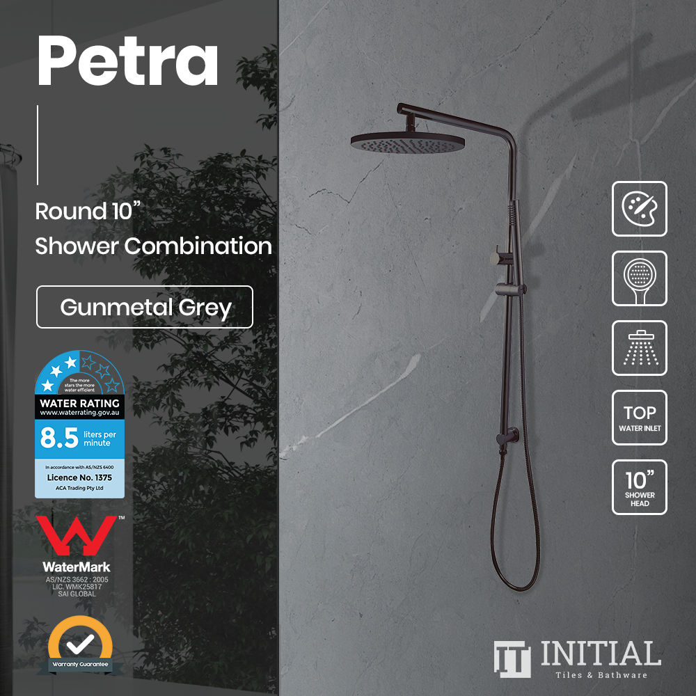 "Petra 10"" Round Shower Combination Gunmetal Grey"