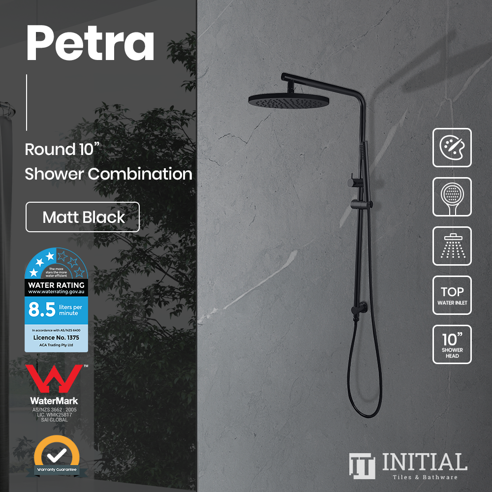 "Petra 10"" Round Shower Combination Matt Black"