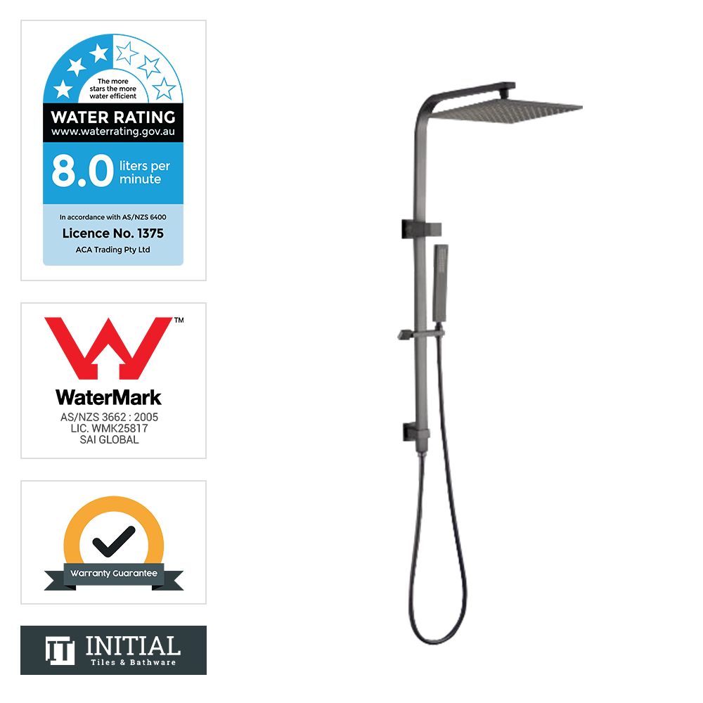 Block 8'' Square Top Water Inlet Shower Combination Gun Metal Grey
