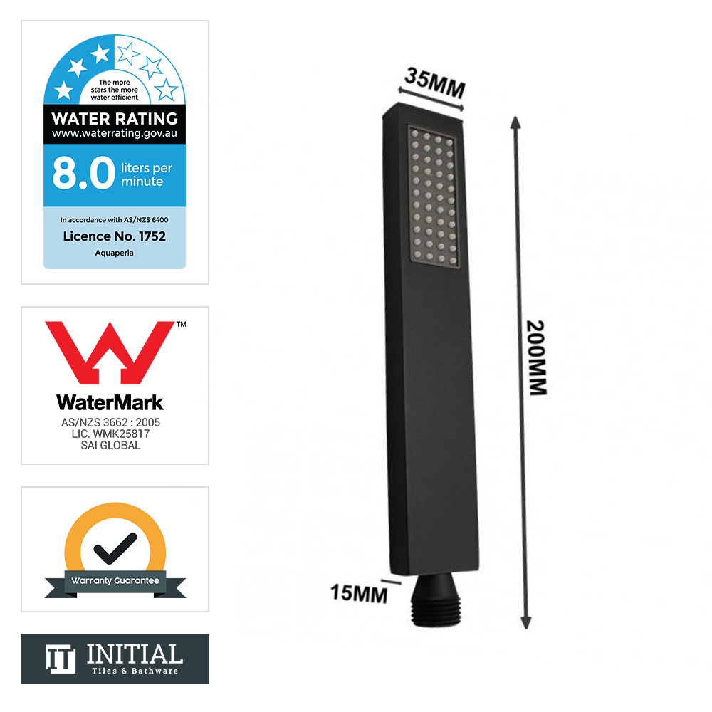 Square Brass 15mm Deep Handheld Shower Head Matt Black