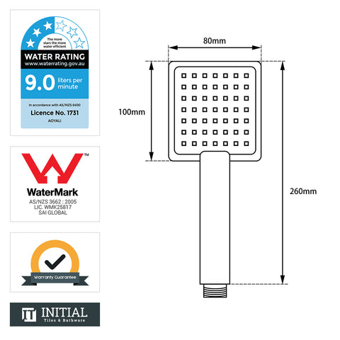 Square Handheld Shower Chrome