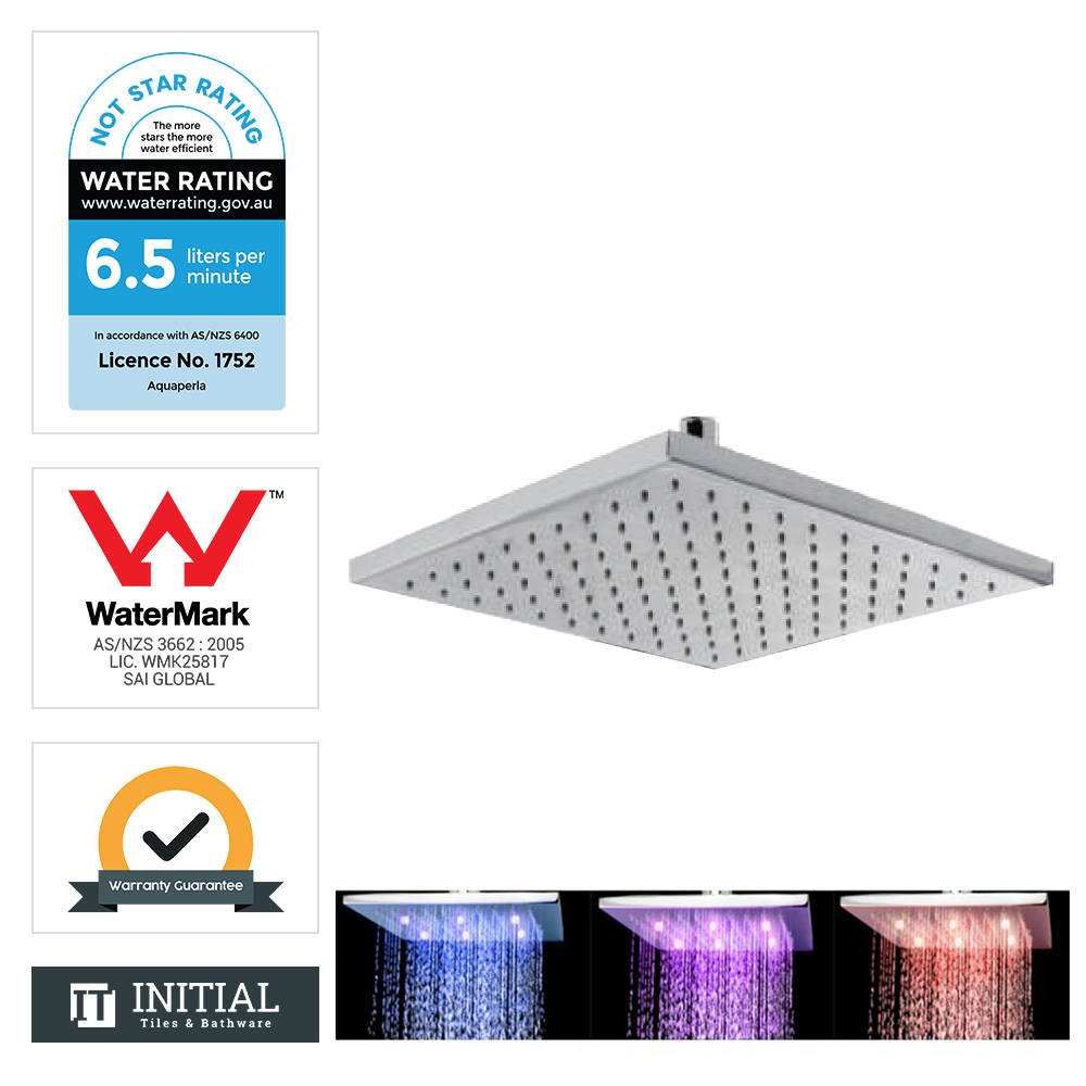 "12"" Square LED Rainfall Shower Head 300mm Chrome"