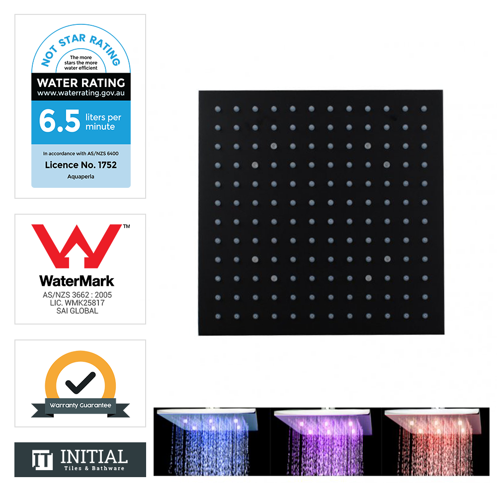 "10"" Square LED Rainfall Shower Head 250mm Matt Black"