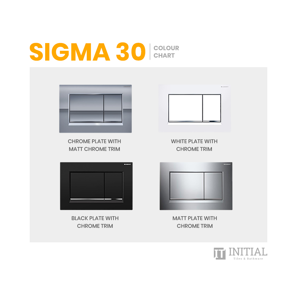Bathroom Geberit Sigma 30 Rectangle Dual Flush Push Buttons