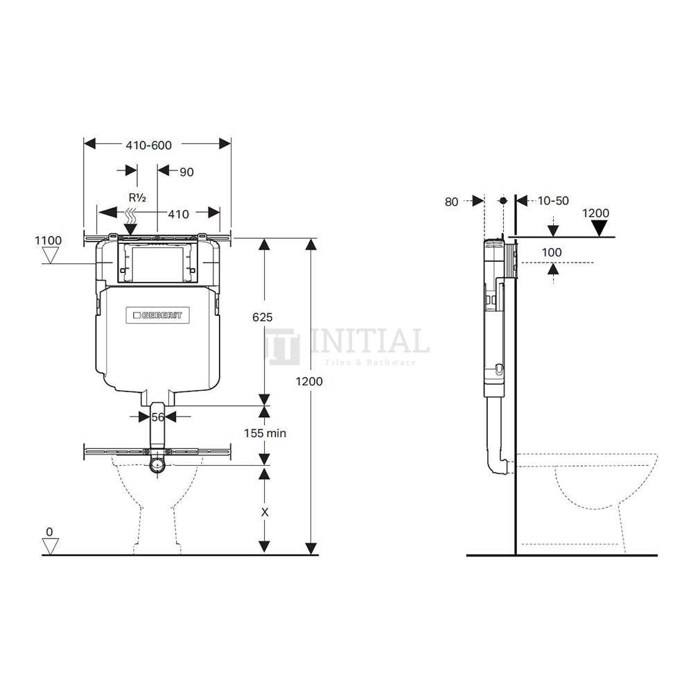 Bathroom Geberit Sigma Frameless In Wall Cistern for Wall Faced Floor Pan