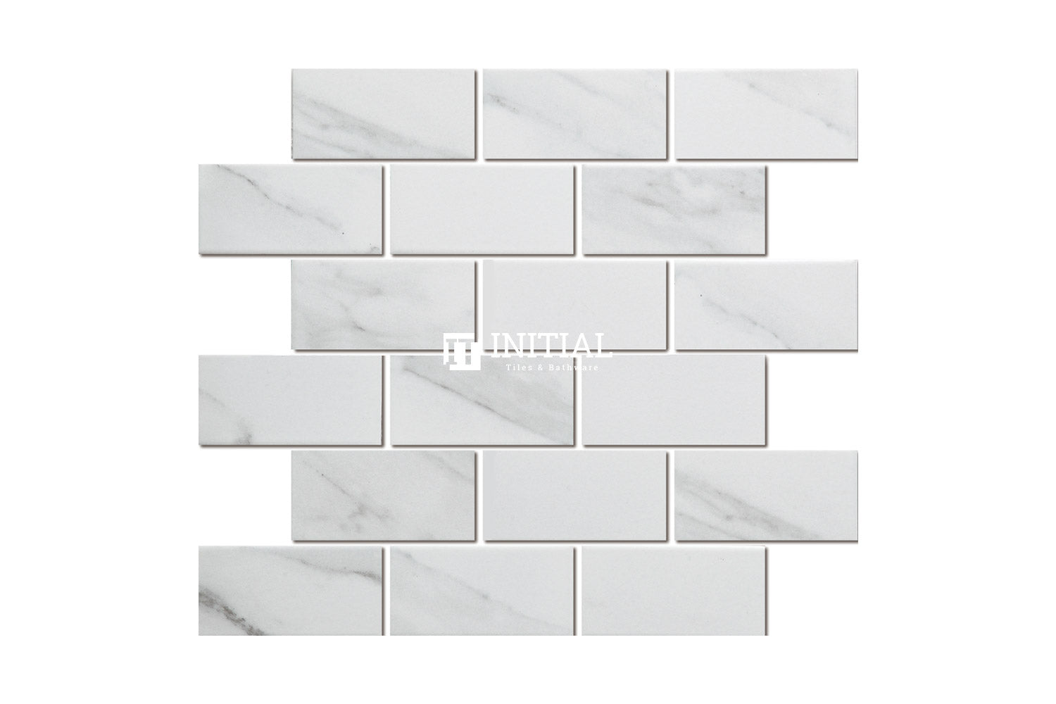Feature Mosaic Persian Carrara Look Mosaic Brickbone Matt 291X295.5