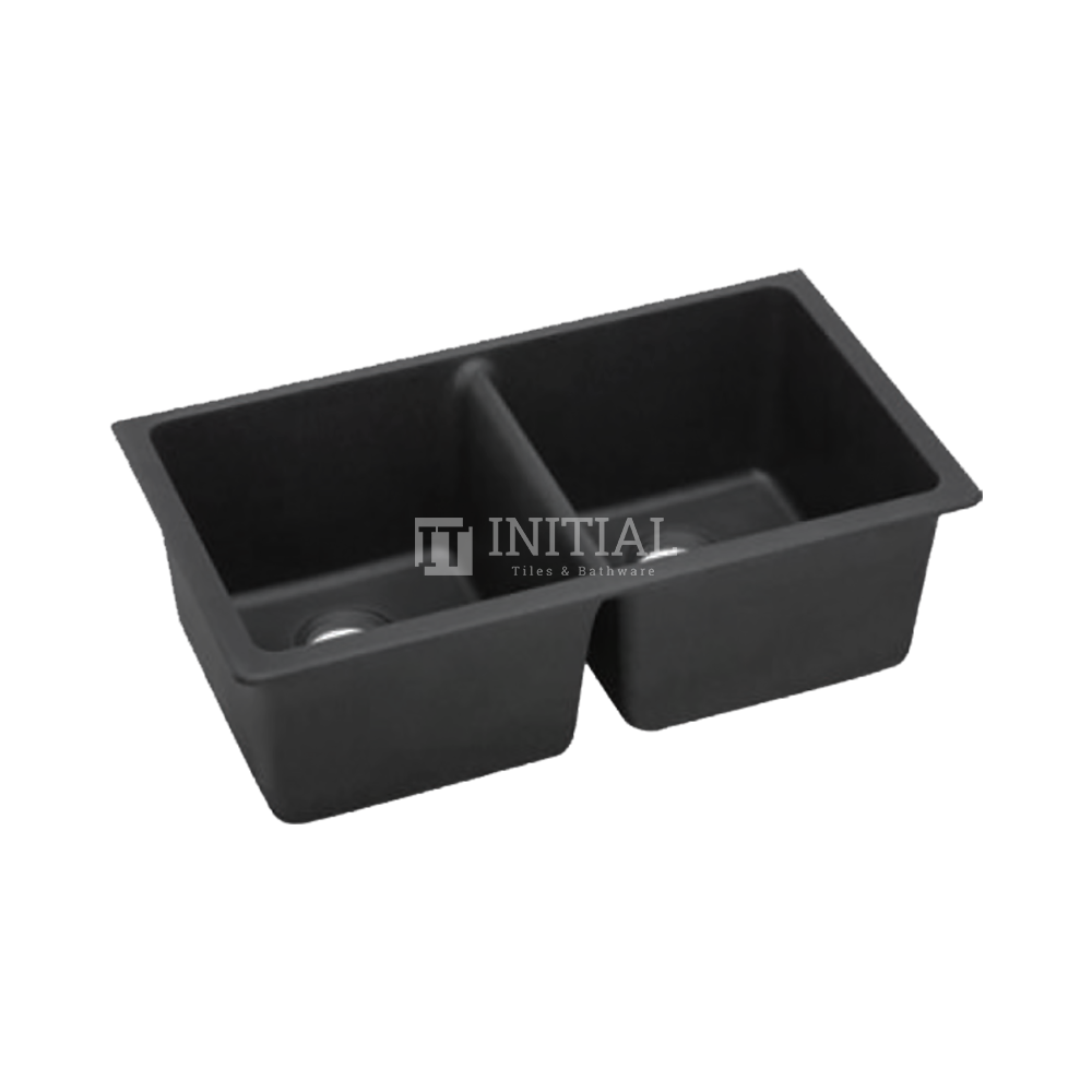 Sqaure Granite Quartz Stone Kitchen & Laundry Sink Black 838X476X241